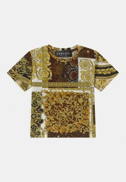 Versace - BAROQUE PRINT PATCHWORK UNISEX - T-shirt print - gold/brown/white