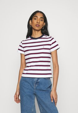Tommy Jeans - REGULAR CONTRAST BABY TEE - T-Shirt print - white