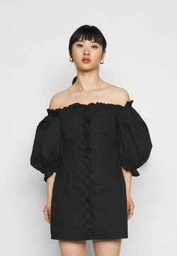 Missguided Petite - RUCHED MILKMAID DRESS - Sukienka letnia - black