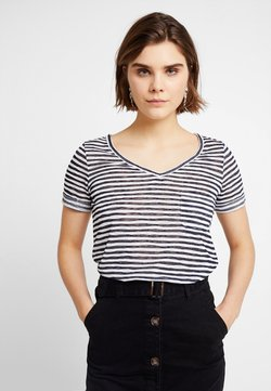 Object - T-Shirt basic - sky captain/white stripes
