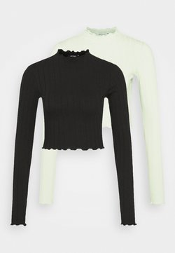 Monki - BLAZE 2 PACK - Maglietta a manica lunga - green light / black