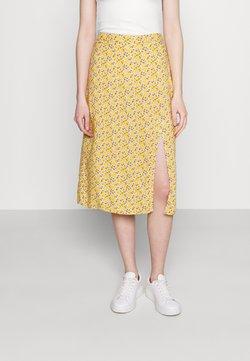 Hollister Co. - SLIP SKIRT - A-Linien-Rock - yellow floral