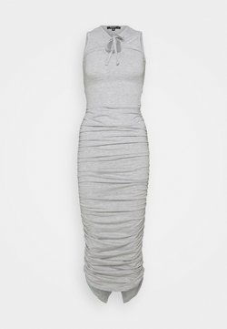 Missguided Petite - TIE NECK RUCHED MIDAXI DRESS - Maxikleid - grey