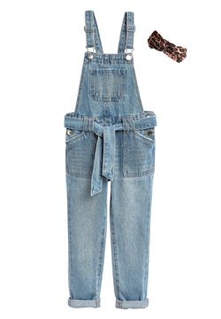 Next - DENIM TIE WAIST DUNGAREES WITH HEADBAND (3-16YRS) - Salopette - blue