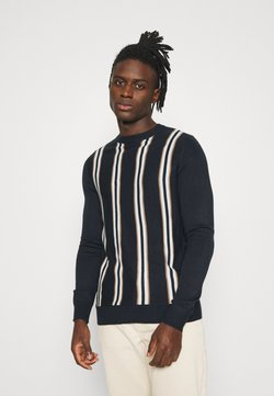 Burton Menswear London - THIN VERTICAL STRIPE CREW - Strickpullover - navy/tabacco
