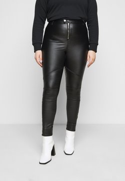 Missguided Plus - VICE DOUBLE POPPER COATED BIKER - Jeansy Skinny Fit - black