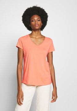 Marc O'Polo - SHORT SLEEVE ROUNDED V-NECK RAW-CUT DETAILS - T-shirts basic - salty peach