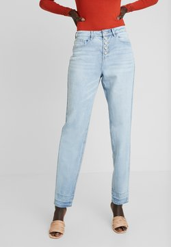 Missguided Tall - RIOT DROP HEM EXPOSED FLY BUTTON MOM - Relaxed fit jeans - blue