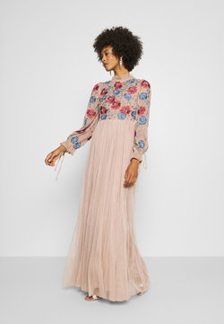Maya Deluxe - EMBROIDERED FLORAL MAXI DRESS WITH BISHOP SLEEVES - Iltapuku - taupe blush