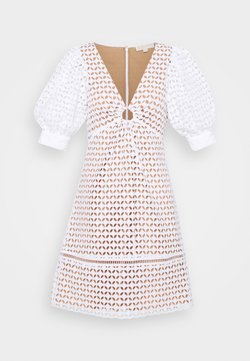 MICHAEL Michael Kors - GEO EYELET MINI DRESS - Freizeitkleid - white