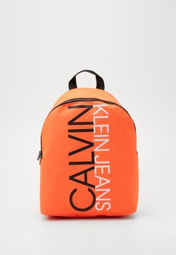 Calvin Klein Jeans - INSTITUTIONAL LOGO BACKPACK - Reppu - neon orange
