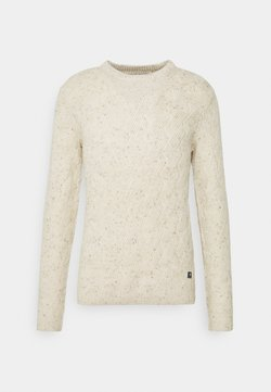 TOM TAILOR DENIM - NEP YARN CABLE CREWNECK - Trui - offwhite nep non solid