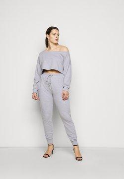 Missguided Plus - OFF SHOULDER JOGGER SET - Sweatshirt - grey marl