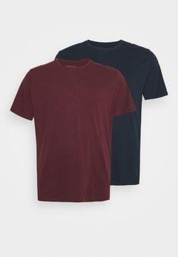 Pier One - 2 PACK  - T-shirt basique - bordeaux/blue