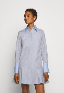 Victoria Victoria Beckham - PATCHWORK FLOUNCE HEM SHIRT DRESS - Blusenkleid - navy/white