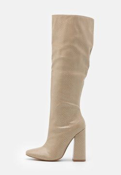 Missguided - TUBULAR BOOT - Bottes à talons hauts - taupe