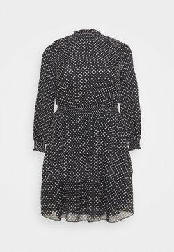 New Look Curves - SHIRRED DETAIL RUFFLE MINI - Freizeitkleid - black pattern