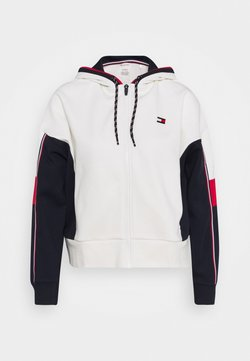 Tommy Hilfiger - COLORBLOCKED FULL ZIP HOODY - Collegetakki - ivory
