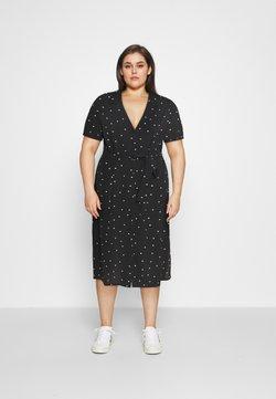 ONLY Carmakoma - CARLUXMILA CALF SHIRT DRESS  - Freizeitkleid - black/white