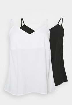 CAPSULE by Simply Be - PLAIN STRAPPY CAMI 2 PACK - Top - black/ivory