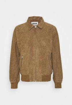 Schott - EFFET VELOURS - Leather jacket - dark beige