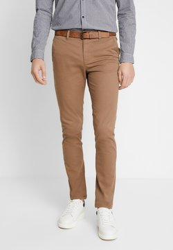 TOM TAILOR DENIM - SLIM CHINO WITH BELT - Chino - honey camel beige