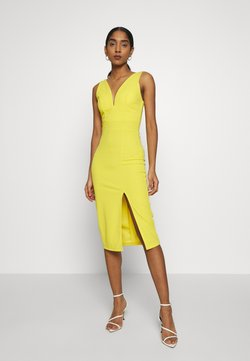 WAL G. - V NECK MIDI DRESS WITH CUPS - Cocktailkleid/festliches Kleid - yellow
