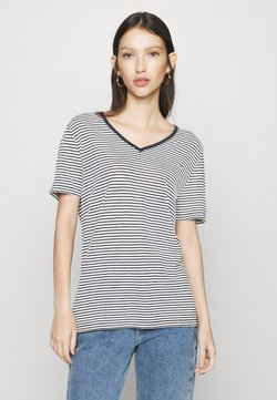Tommy Jeans - TEXTURE FEEL V NECK TEE - T-Shirt print - twilight navy/white