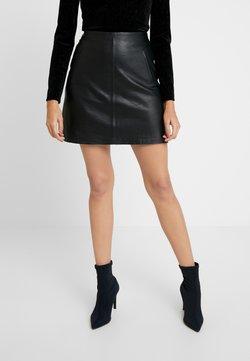 Selected Femme - SLFNINI SKIRT - Leather skirt - black