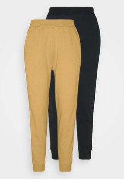 Even&Odd - 2er PACK - Basic regular fit joggers - Jogginghose - black/yellow
