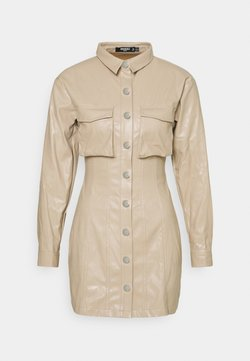Missguided Petite - BUTTON FRONT UTILITY DRESS - Robe d'été - stone