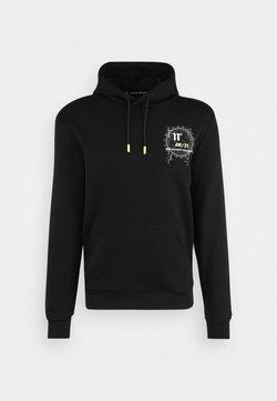 11 DEGREES - WORLD GRAPHIC HOODIE - Bluza z kapturem - black/white/limeade
