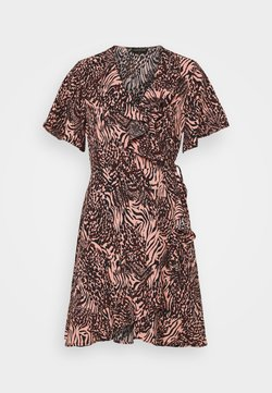 Colourful Rebel - TELSI ZEBRA SHORTSLEEVE REAL WRAP DRESS - Freizeitkleid - pink
