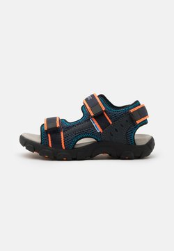 Geox - JR STRADA - Trekkingsandale - navy/fluo orange