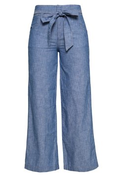 GAP - WIDE LEG CHAMBRAY - Pantalones - indigo