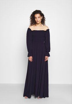 Who What Wear - SMOCKED OFF THE SHOULDER DRESS - Freizeitkleid - midnight