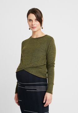 Cotton On - MATERNITY CROSS OVER FRONT LONG SLEEVE - Neule - olive night