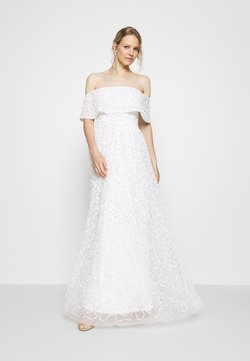 Maya Deluxe - SCATTERED SEQUIN BARDOT MAXI DRESS - Occasion wear - white