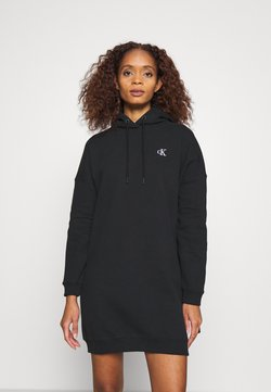 Calvin Klein Jeans - HOODIE DRESS WITH CHEST LOGO - Vapaa-ajan mekko - black