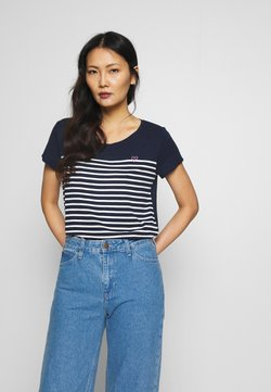 TOM TAILOR DENIM - SLUB TEE - T-Shirt print - navy/off white
