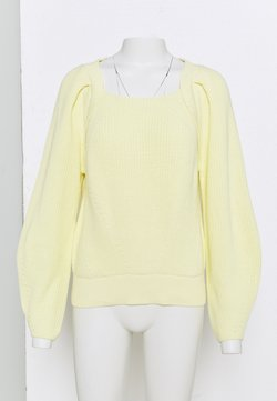 Selected Femme - SLFGRY LS SQUARE NECK B - Jersey de punto - pastel yellow