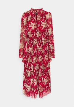 Missguided Petite - KEYHOLE FRILL MAXI DRESS FLORAL - Freizeitkleid - red