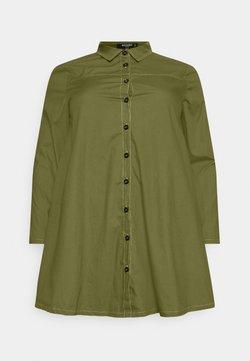 Missguided Plus - CONTRAST STITCH DRESS - Blusenkleid - khaki