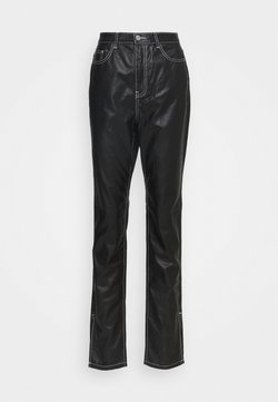 Missguided Tall - CONTRAST STITCH COATED WRATH - Straight leg -farkut - black