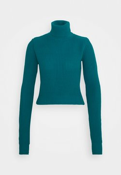 Glamorous Tall - CROPPED JUMPER WITH ROLL NECK AND LONG SLEEVES - Trui - blue jade