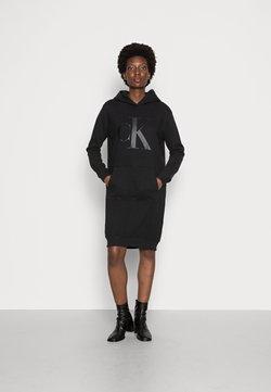 Calvin Klein Jeans - HOODIE DRESS UPSCALE  - Korte jurk - black