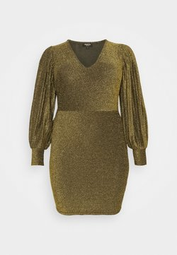 Simply Be - PLEAT SLEEVE BODYON DRESS - Cocktailkleid/festliches Kleid - gold-coloured