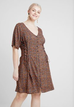 New Look Curves - LILIAN DITSY LATTICE WAIST DRESS - Vapaa-ajan mekko - black