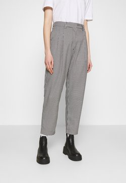 Monki - TYRA TROUSERS - Stoffhose - black/white