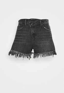Good American - GOOD SHORT LONG FRAY HEM - Shorts di jeans - black